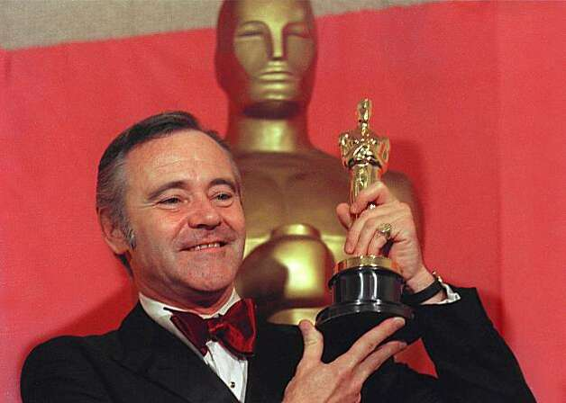 "Actor Jack Lemmon is shown displaying his Oscar awarded for best Actor for his role in ""Save the Tiger"", at the 46th annual Academy Awards on April 3, 1974 in Los Angeles. (AP Photo)"
