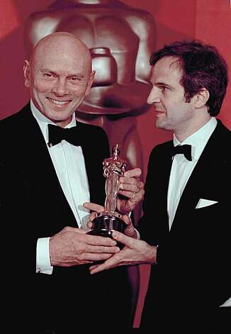 "Yul Brynner presents Oscar to French film director Francois Truffaut for his Movie ""Day For Night"" which was named Best Foreign Language Film for 1973 at the Academy Awards on Tuesday, April 2, 1974  in Los Angeles. (AP Photo) Photo: Anonymous"