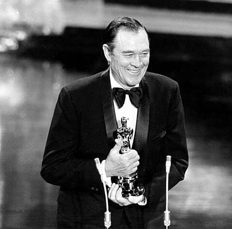 "Actor Ben Johnson holds his Oscar during his acceptance speech at the Academy Awards at the Music Center in Los Angeles, Ca., April 1972.  Johnson won for his role as best supporting actor in ""The Last Picture Show.""  (AP Photo)"