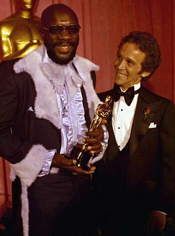 Isaac Hayes, left and Joel Gray at the Academy Awards, March 27, 1971 at the Dorothy Chandler Pavilion, Los Angeles. Hayes won the Oscar for best song. (AP Photo) Photo: Anonymous