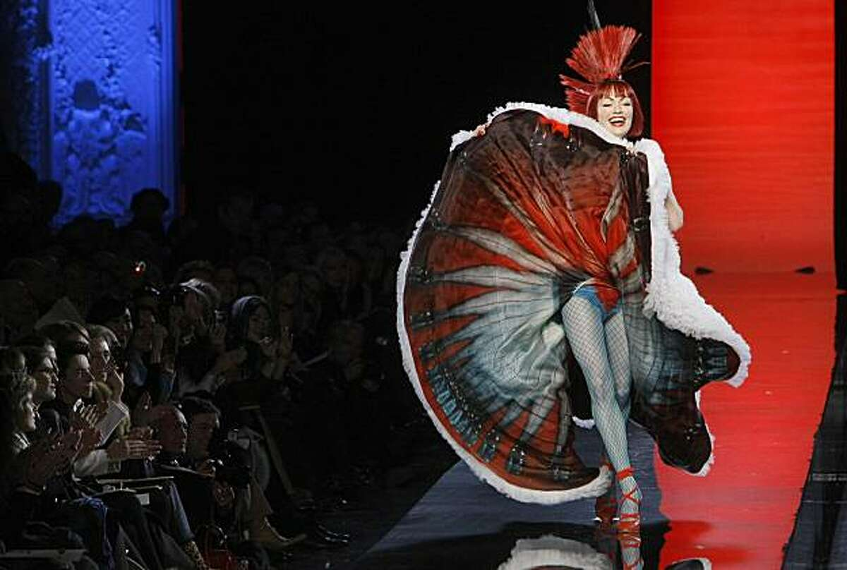 A model wears a creation by French fashion designer Jean Paul Gaultier for his spring/summer 2011 Haute Couture fashion collection in Paris, Wednesday, Jan. 26, 2011.