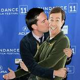 """PARK CITY, UT - JANUARY 23:  Actor Ed Helms poses with a cardboard cutout of himself at the """"Cedar Rapids"""" Premiere at the Eccles Center Theatre during the 2011 Sundance Film Festival on January 23, 2011 in Park City, Utah."""