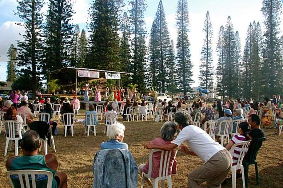 The small island of Lana'i has expanded its Hawaiian cultural offerings, such as its two-year-old Ho'oupa Hula No Lana'i Festival held in Dole Park. Photo: Jeanne Cooper, Special To SFGate