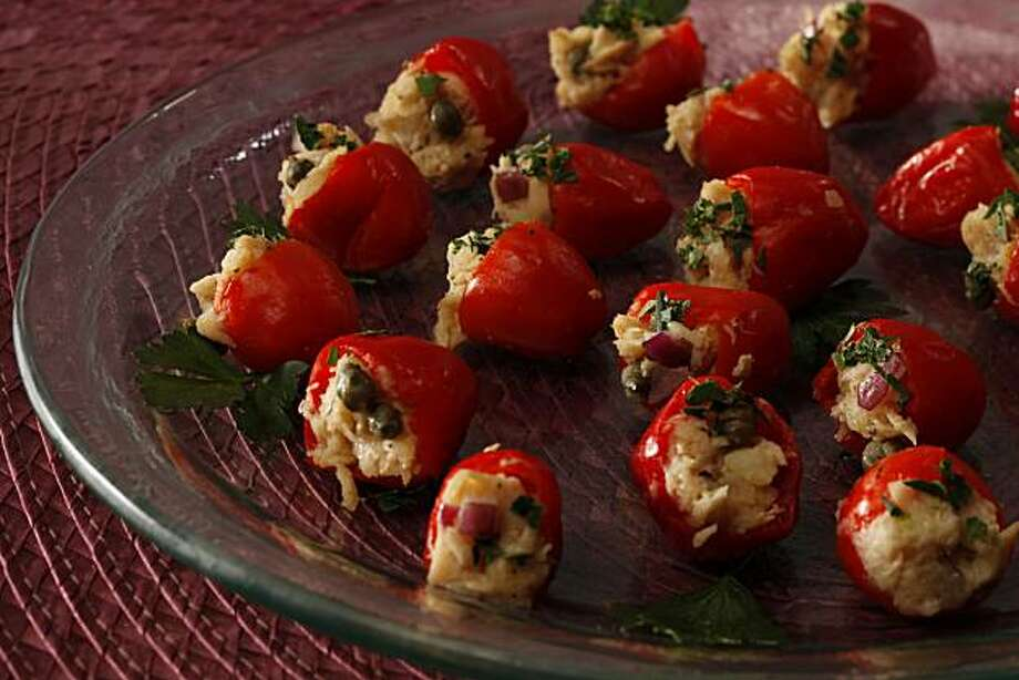 Tuna Stuffed Peppers holiday party food in San Francisco, Calif., on October 23, 2009. Photo: Craig Lee, Special To The Chronicle