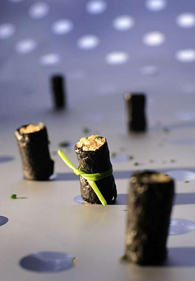 sparklers01 Please shoot snacks for Sparkling Wine Pairings story for Wine section.  Ran on: 12-01-2006 Quinoa-Nori Rolls match bubbly's flavors and texture. Ran on: 12-01-2006 Quinoa-Nori Rolls match bubbly's flavors and texture. Photo: John Lee, SFC