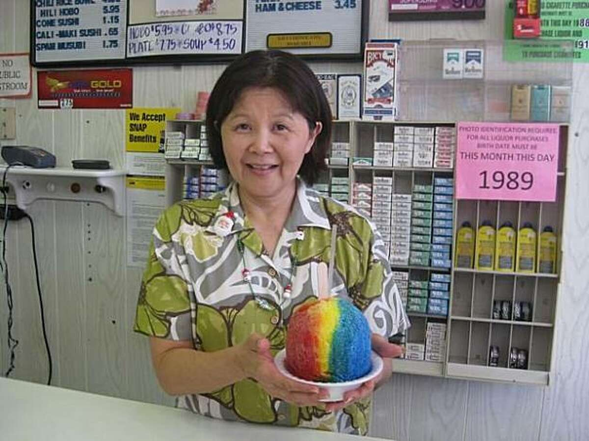 A top seller at Tom's Mini Mart in Wailuku is shave ice, available in a wide variety of tropical flavors.