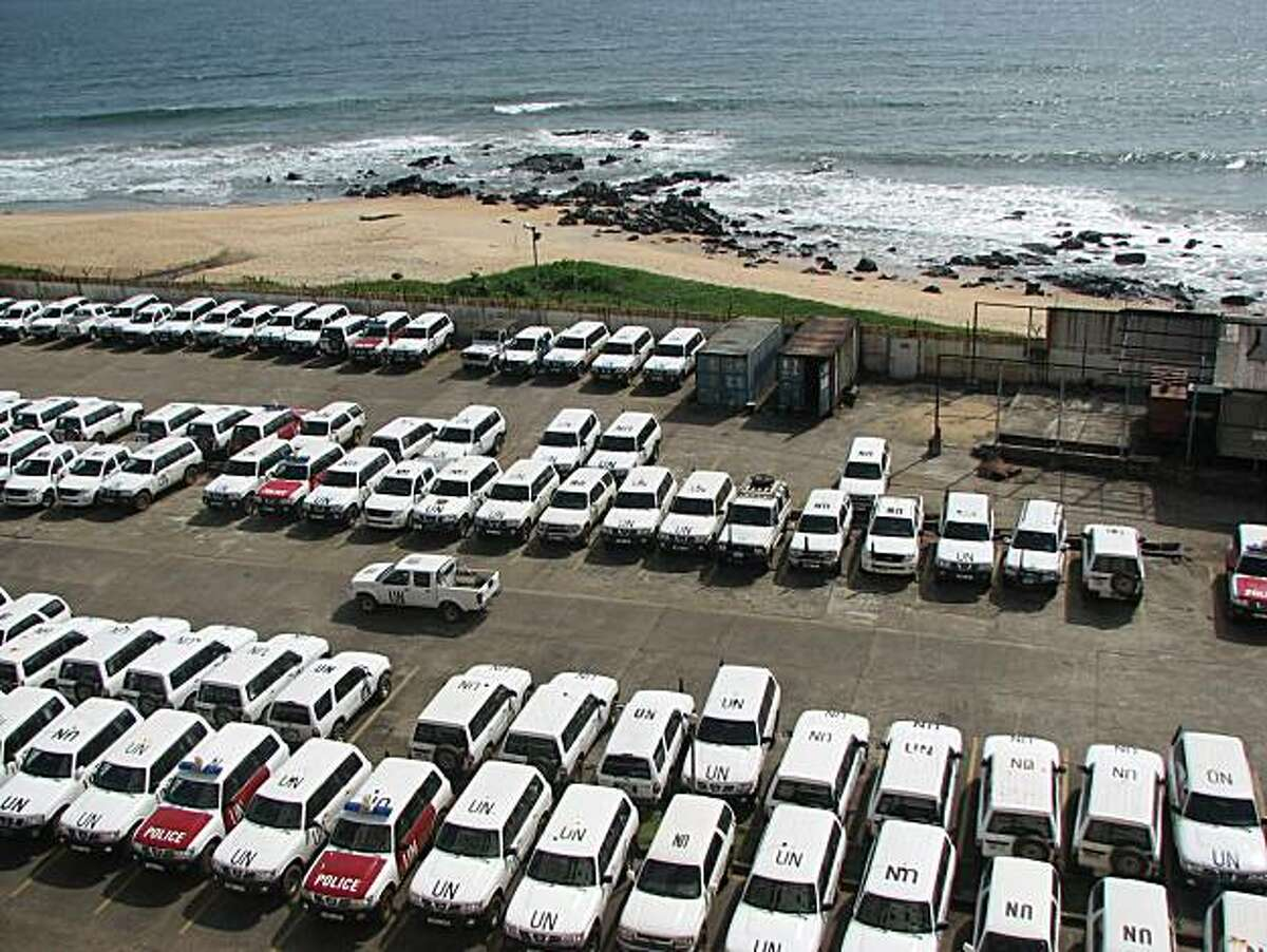 Parking lot for UN vehicles at headquarters for its peacekeeping forces in Monrovia.