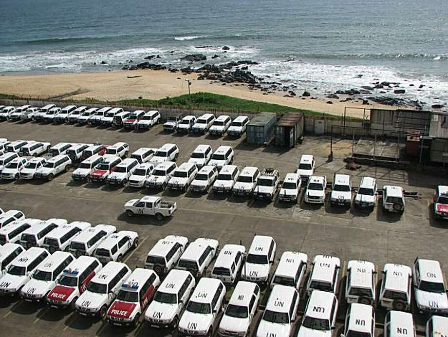 Parking lot for UN vehicles at headquarters for its peacekeeping forces in Monrovia. Photo: John Diaz, The Chronicle