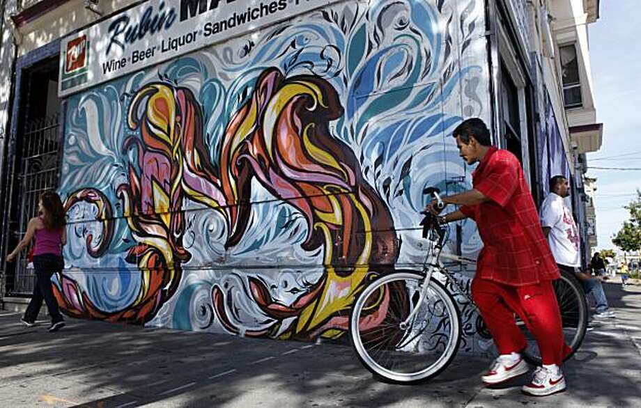 The letter M of the alphabet  is on display at the corner of 26th and Folsom  of  the Mission District which is painted by muralist Victor Reyes , Thursday June 10, 2010, in San Francisco, Calif. Photo: Lacy Atkins, The Chronicle