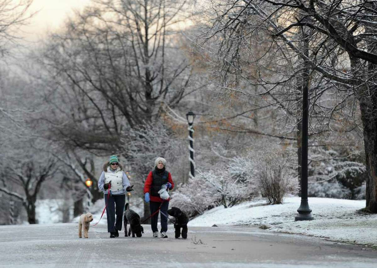 Eileen Rosen, left and Leslie Moran walk their dogs; Curley, Maggie and Bridget through Washington Park in Albany, N.Y. this morning Dec. 8, 2011 after a storm covered the area with some wet snow and caused power outages in Rensselaer, Columbia and Schenectady counties according to radio reports. (Skip Dickstein / Times Union)