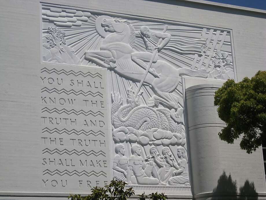 An inscription on the west wall of Berkeley High School captures the spirit of the New Deal builders. The bas-relief was done by Jacques Schnier. Photo: Gray Brechin, Http://livingnewdeal.berkeley.ed