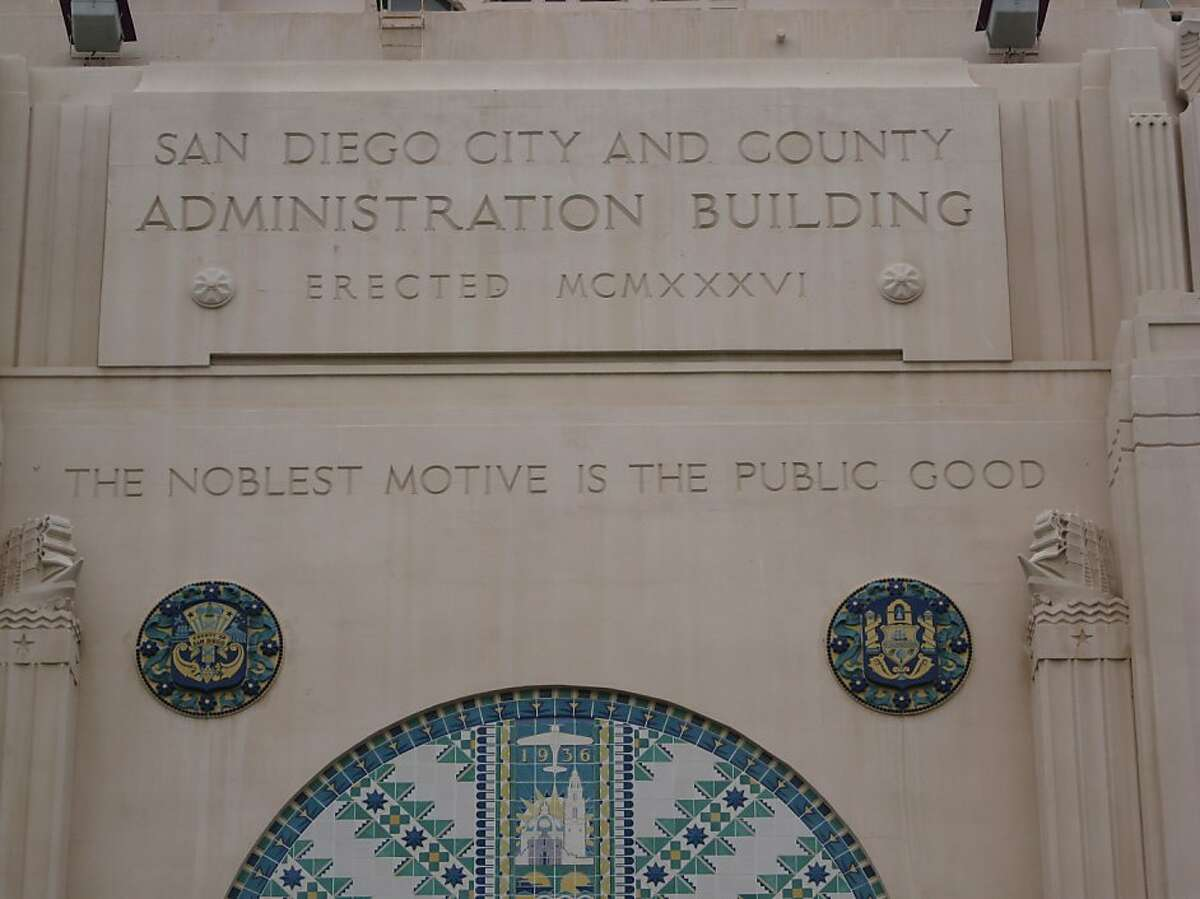 The San Diego City and County Administration building was built by the Works Progress Administration in 1936. This is a detail