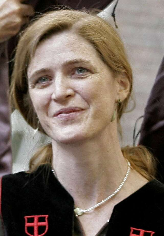 """Samantha Power receives an honorary Doctor of Humane Letters degree during Brown University's 239th Commencement in Providence, R.I., in this file photo taken Sunday, May 27, 2007. Power, an advisor to Democratic presidential hopeful Sen. Barack Obama, D-Ill., has resigned after calling Sen. Hillary Clinton """"a monster."""" (AP Photo/Stew Milne) Photo: Stew Milne, AP"""