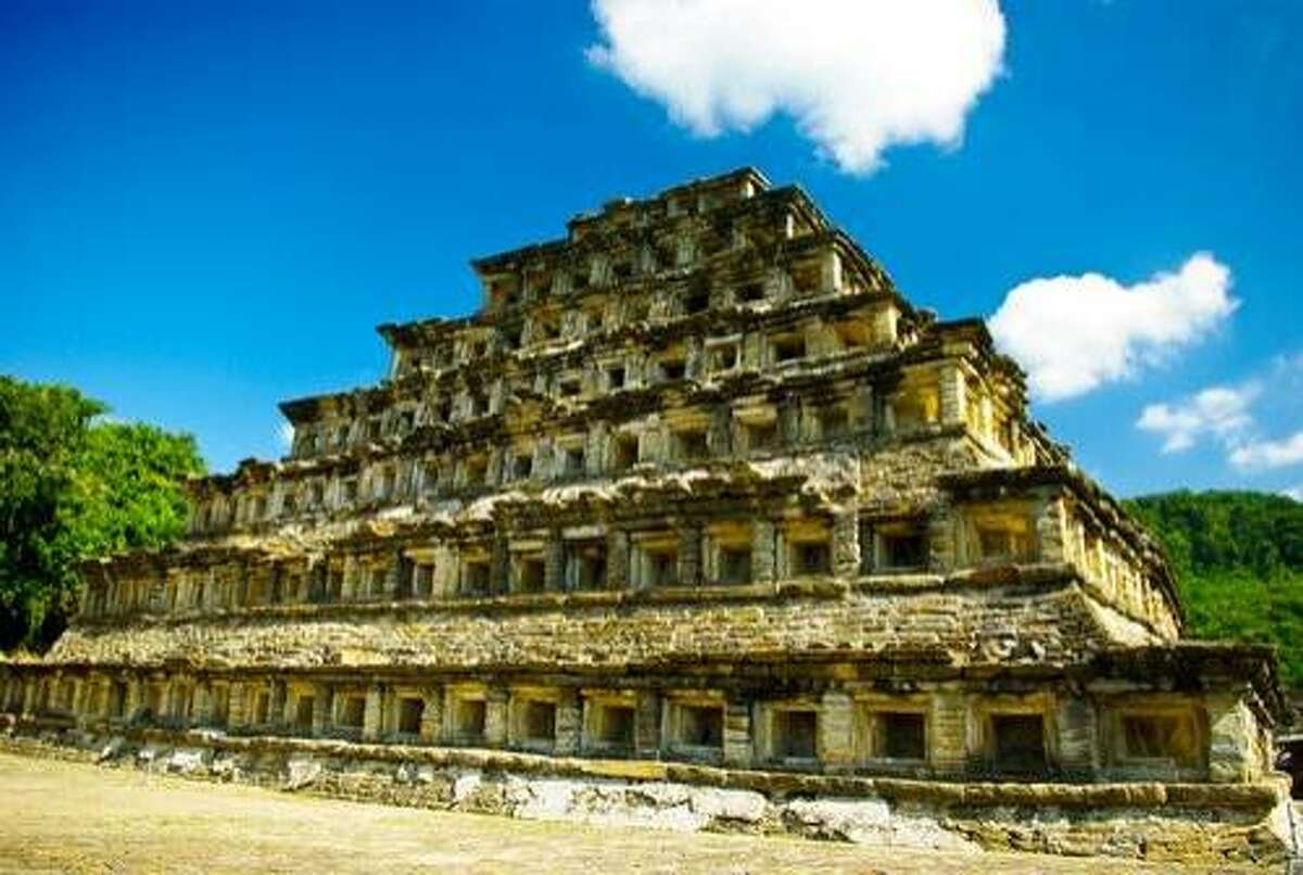 """The Pyramid of the Niches at El Tajin is known for its 365 """"niches"""" carved in and around the pyramid to symbolize the days of the year."""
