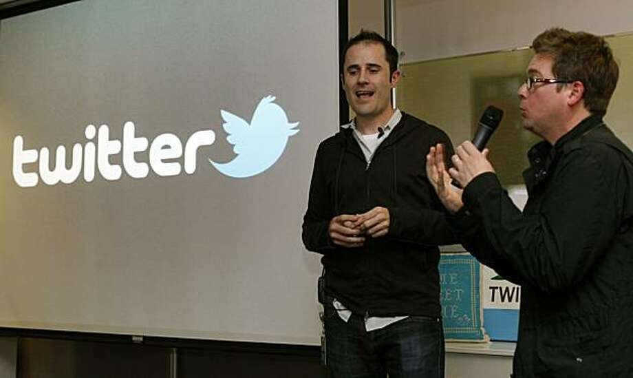 Twitter CEO Evan Williams left jokes with co-founder Biz Stone as they invalid the newly revamped Twitter website on Tuesday September 14, 2010 at Twitter headquarters in San Francisco, California. Twitter launched a new version of the popular social media site in hopes it will be more user friendly Photo: Lance Iversen, The Chronicle