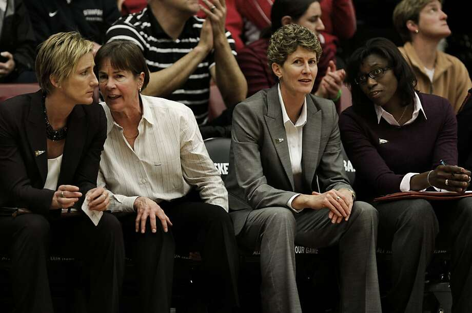 (left to right) Assistant coach, Kate Payne, head coach Tara VanDerveer, associate coach, Amy Tucker and assistant coach, Bobbie Kelsey, direct from the bench, as the Stanford Cardinal women win 86-59 over UC Davis Aggies in first round action of the 2011 NCAA Women's Basketball Championship on Saturday March 19, 2011, at Maples Pavilion in Palo Alto, Ca. Photo: Michael Macor, The Chronicle