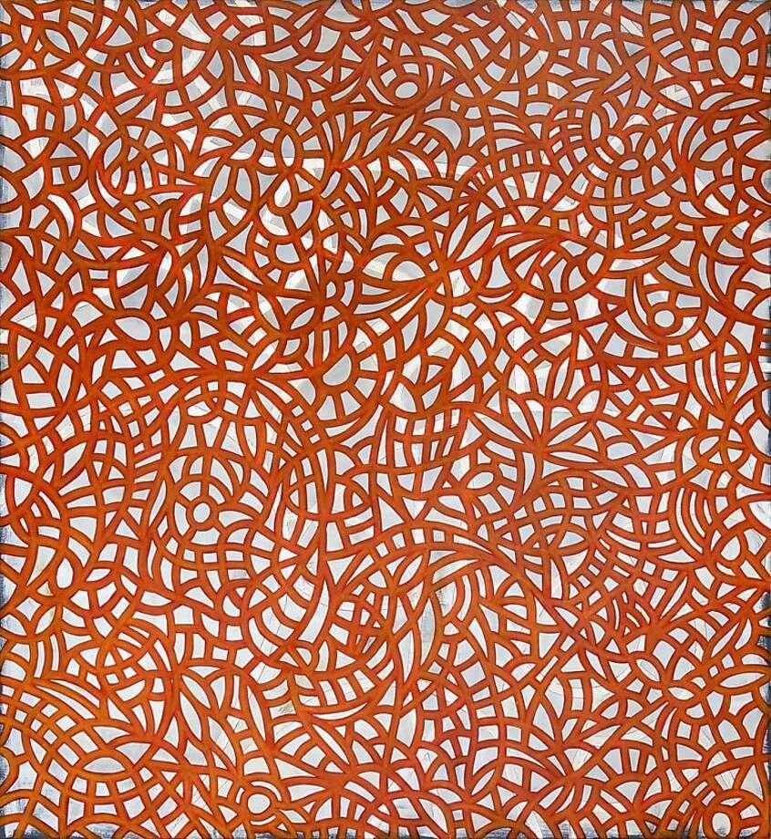 John Bonick, Entanglement 4, mixed media on panel, 75 x 69 inches. Photo: Andrea Schwartz Gallery