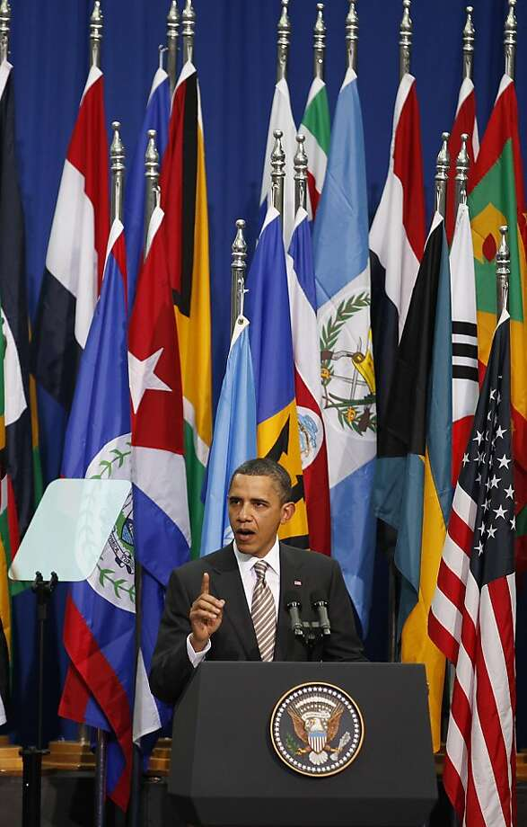 ALTERNATIVE CROP OF XRC120 - President Obama delivers a speech to all Latin Americans from the Centro Cultural La Moneda Palace in Santiago, Chile, Monday, March 21, 2011. Photo: Roberto Candia, AP