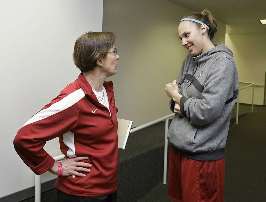 Stanford coach Tara VanDerveer, left, talks with forward Kayla Pedersen in the locker room in Stanford, Calif., Sunday, March 20, 2011. Stanford will play St. John's on Monday in the second round of the NCAA college basketball tournament. Photo: Paul Sakuma, AP