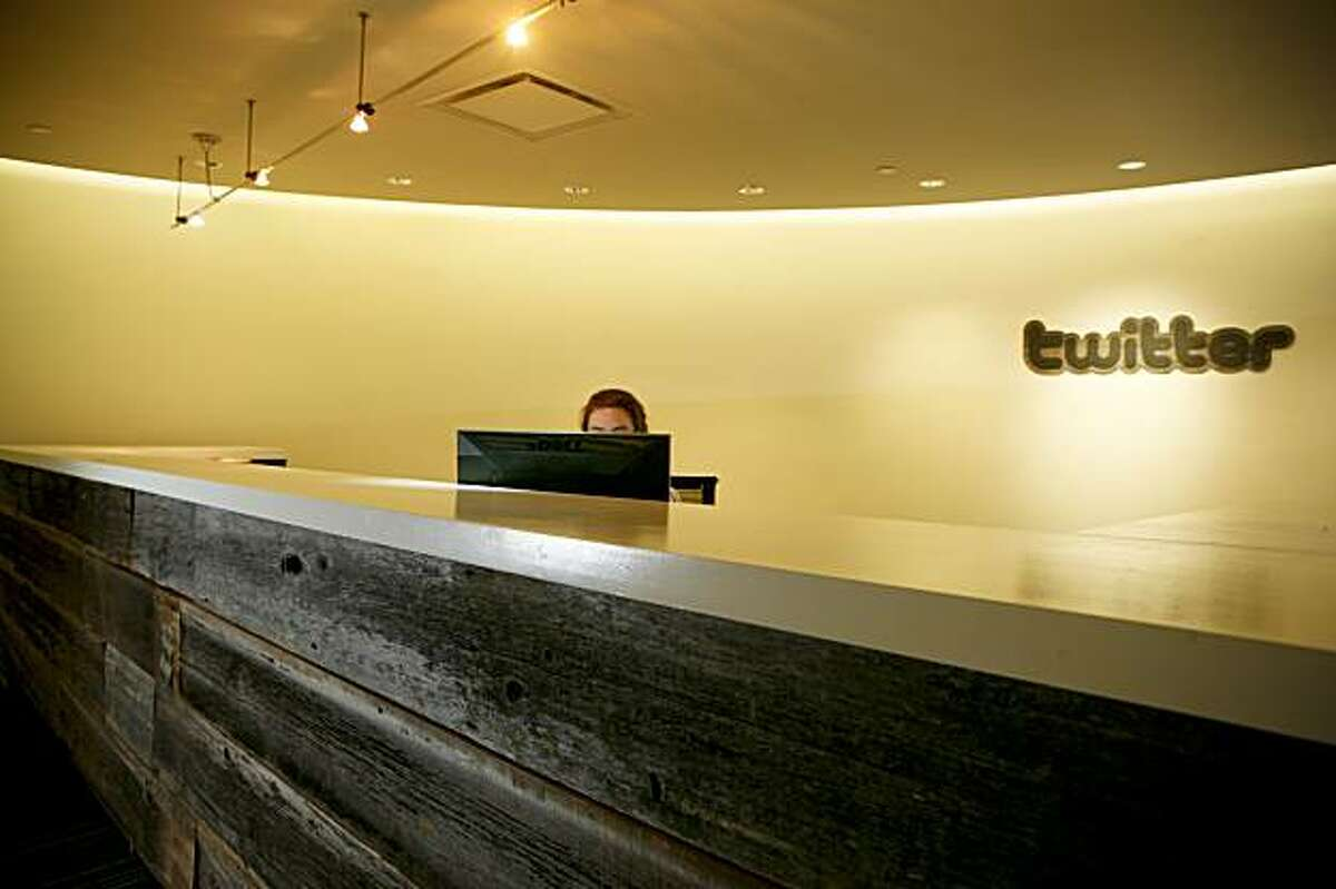 The new Twitter office reception desk made by Concrete Works is seen on Wednesday, Dec. 16, 2009 in San Francisco, Calif.