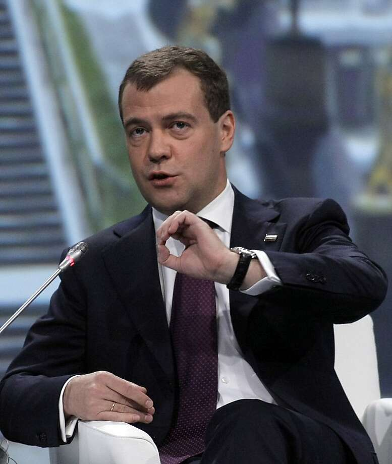 Dmitry Medvedev, Russia's president, speaks during the St. Petersburg International Economic Forum in St. Petersburg, Russia, on Friday, June 18, 2010. Russia will help lead efforts to recast the global economic hierarchy as the world emerges from the financial crisis, Medvedev said. Photographer: Alexander Zemlianichenko Jr/Bloomberg *** Local Caption *** Dmitry Medvedev Photo: Alexander Zemlianichenko Jr., Bloomberg