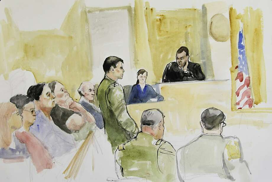 In this courtroom sketch made Wednesday, March 23, 2011, Spc. Jeremy Morlock, of Wasilla, Alaska, is shown standing at left-center as he faces Military Judge Lt. Col. Kwasi Hawks, upper right, during a court martial at Joint Base Lewis-McChord in Washington state. Morlock pleaded guilty to three counts of murder Wednesday in connection with the killings of three unarmed Afghan men in Kandahar province in 2010. Photo: Lois Silver, AP