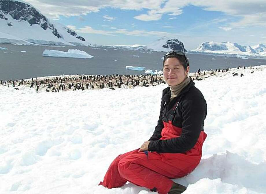 Tomomi MacLeod of Campbell at the Gentoo penguin colony on Danko Island, Antarctica. Photo: Courtesy Of Tomomi MacLeod