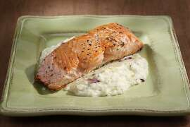 Salmon with spring onion puree as seen in San Francisco, California, on March 16, 2011. Food styled by Sophie Brickman.