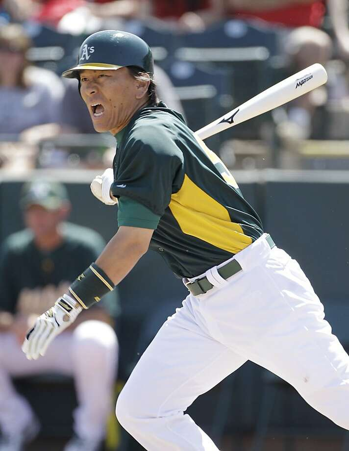 Oakland Athletics designated Hideki Matsui reacts to grounding out against the Los Angeles Angels in the first inning of their spring training baseball game in Phoenix, Friday, March 25, 2011. Los Angeles won the game 10-3. Photo: Eric Risberg, Associated Press