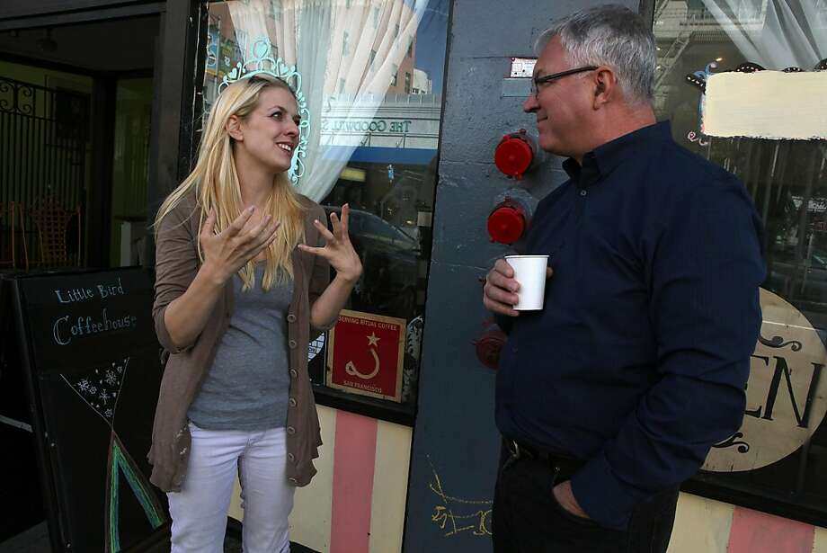 Owner Chelsea Addison-Torres (left) of  Little Bird, a small coffee shop in his neighborhood with neighbor David Overdorf (right) as they stand under the firescape where she was thinking of placing a few tables and chairs in San Francisco, Calif., on Thursday, March 17, 2011.  David Overdorf caused the  Little Bird, a small coffee shop in his neighborhood, a few problems in doing that. Photo: Liz Hafalia, The Chronicle