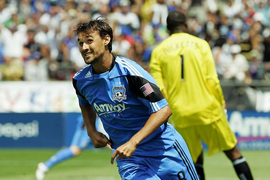 SANTA CLARA, CA - AUGUST 21:  Chris Wondolowski #8 of the San Jose Earthquakes smiles after scoring against goalie Donovan Ricketts #1 of the Los Angeles Galaxy in the first half on August 21, 2010 at Buck Shaw Stadium in Santa Clara, California. Photo: Brian Bahr, Getty Images
