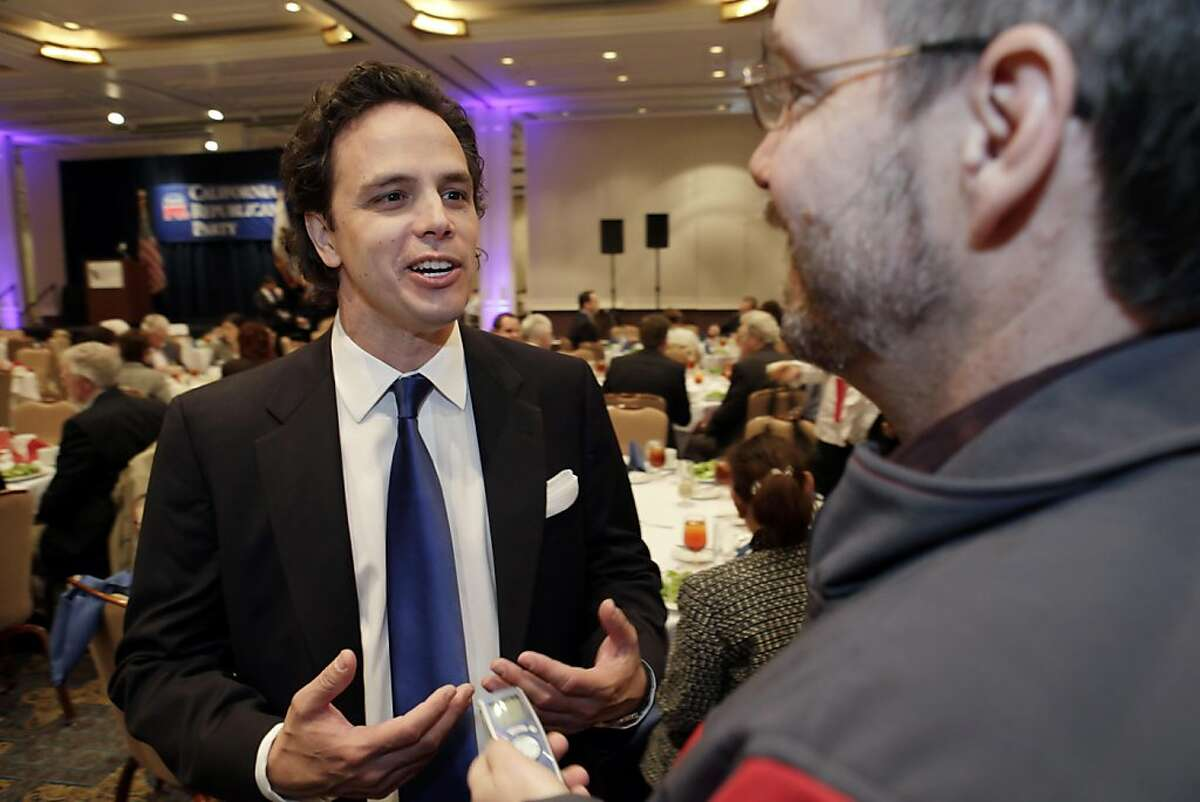 Tom Del Beccaro, left, addresses the press at the Hyatt Regency Hotel on Saturday afternoon. Del Beccaro was elected as the Chair of the California Republican Party. The California Republican Party held their party convention at the Sacramento Convention Center in Sacramento, Calif., on Saturday, March 19, 2011.