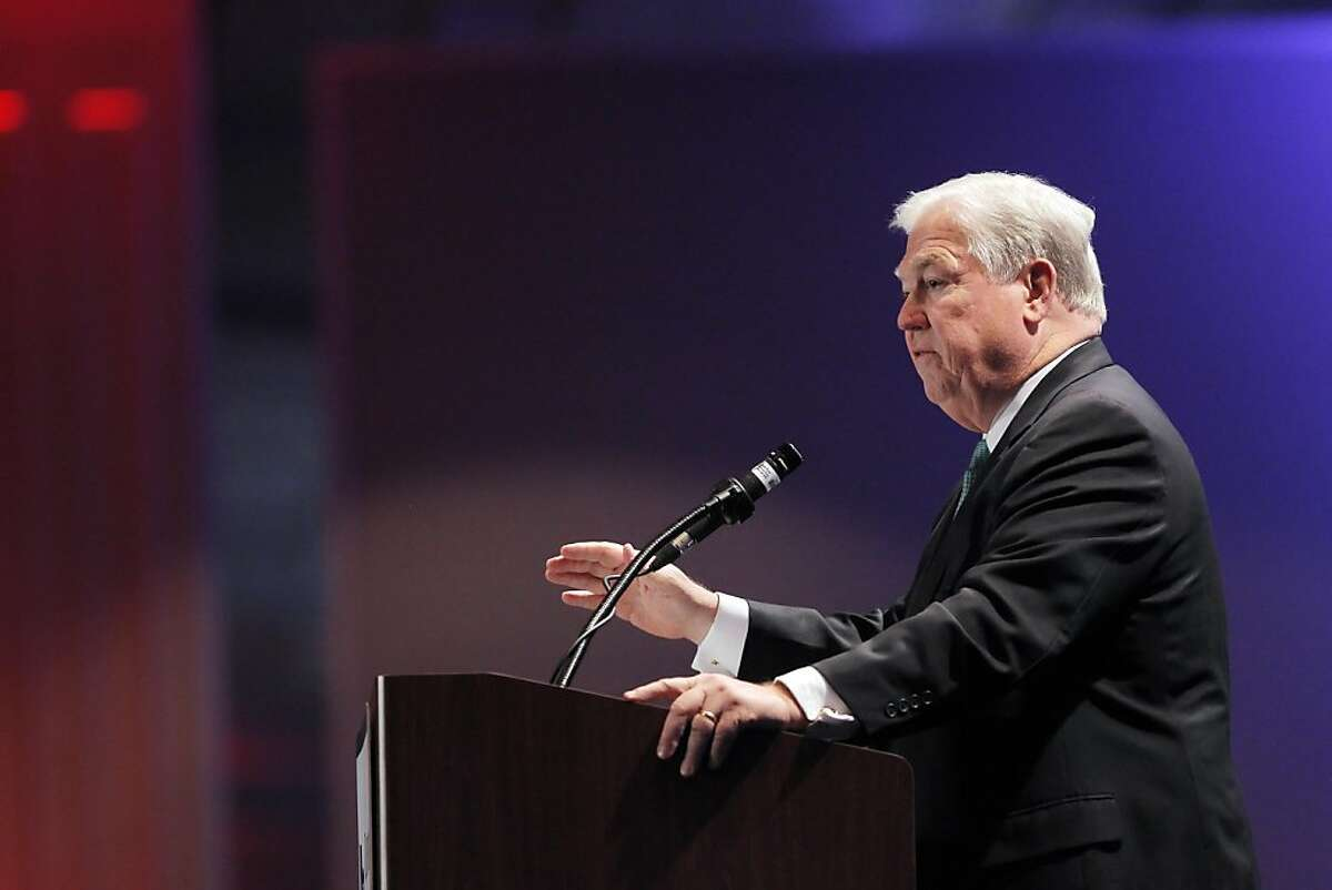 Mississippi Gov. Haley Barbour on stage during his speech to the guests gathered at the Hyatt Regency Hotel on Saturday night. Barbour is testing the waters for a run for the presidency. The California Republican Party held their party convention at the Sacramento Convention Center in Sacramento, Calif., on Saturday, March 19, 2011.