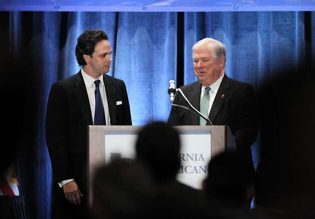 Tom Del Beccaro, left, joins Mississippi Gov. Haley Barbour, right, on stage after Barbour concluded his speech to the guests gathered at the Hyatt Regency Hotel on Saturday night. Del Beccaro was elected as the Chair of the California Republican Party and Barbour is testing the waters for a run for the presidency. The California Republican Party held their party convention at the Sacramento Convention Center in Sacramento, Calif., on Saturday, March 19, 2011. Photo: Carlos Avila Gonzalez, The Chronicle