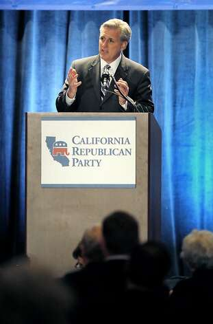 U.S. Rep. Kevin McCarthy, R-Bakersfield, addressed the crowd gathered at the Hyatt Regency Hotel in Sacramento on Saturday night.  The California Republican Party held their party convention at the Sacramento Convention Center in Sacramento, Calif., on Saturday, March 19, 2011. Photo: Carlos Avila Gonzalez, The Chronicle