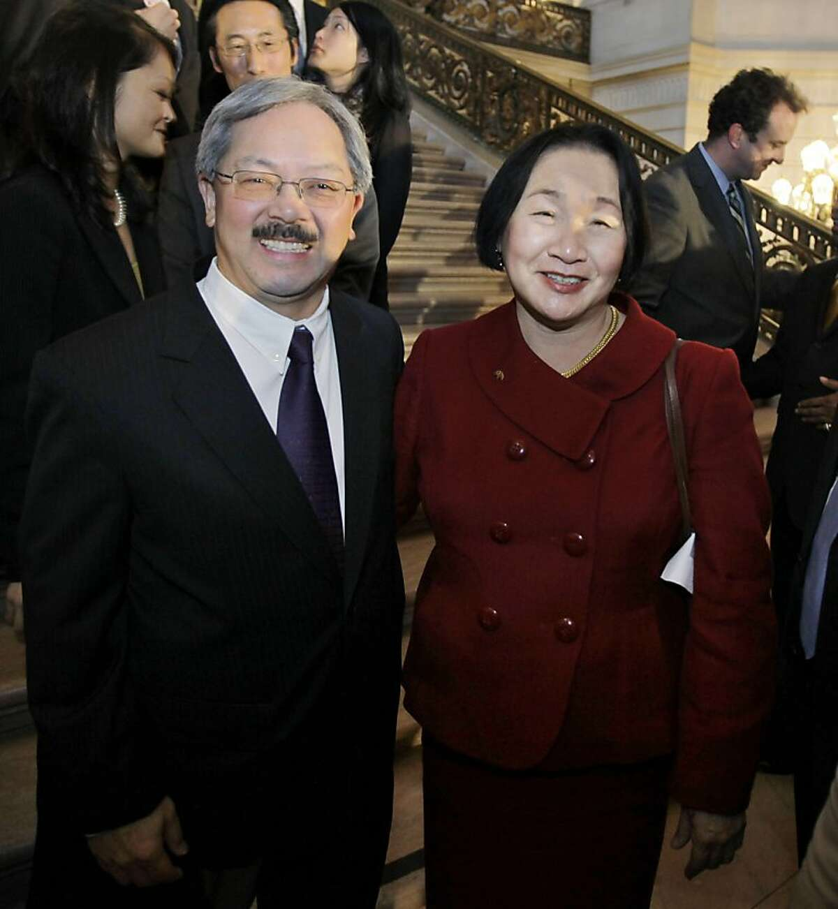 Edwin Lee, left, who was named interim mayor of San Francisco, poses with Oakland mayor Jean Quan, at San Francisco City Hall in San Francisco, Tuesday, Jan. 11, 2011. The Board of Supervisors on Tuesday named Lee to fill the remainder of Gavin Newsom's term. Newsom was elected California's lieutenant governor in November and took office on Monday.