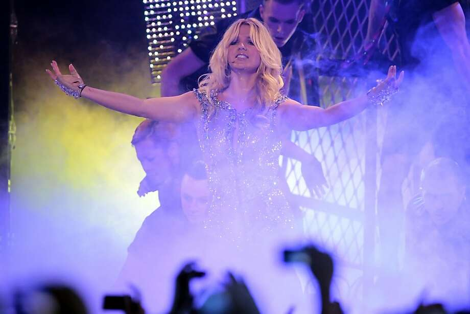 Britney Spears performs at the Bill Graham Civic Auditorium for the Good Morning America Spring Concert Series on Sunday in San Francisco. Spears performed three songs to introduce her new album, Femme Fatale, which goes on sale Tuesday. Photo: Lacy Atkins, The Chronicle