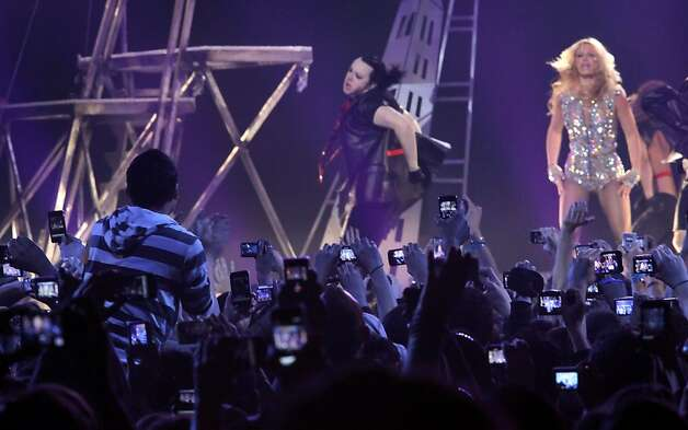 The crowd of six thousand go crazy as popstar princess Britney Spears performs at the Bill Graham Civic Auditorium for the Good Morning America Spring Concert Series, Sunday March 27, 2011, in San Francisco, Calilf. Spears performed three songs to introduce her new album Femme Fatale which goes on sale Tuesday. Photo: Lacy Atkins, The Chronicle