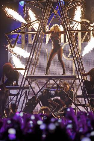 Popstar princess Britney Spears lights up the stage as she  performs at the Bill Graham Civic Auditorium for the Good Morning America Spring Concert Series, Sunday March 27, 2011, in San Francisco, Calilf. Spears performed three songs to introduce her new album Femme Fatale which goes on sale Tuesday. Photo: Lacy Atkins, The Chronicle