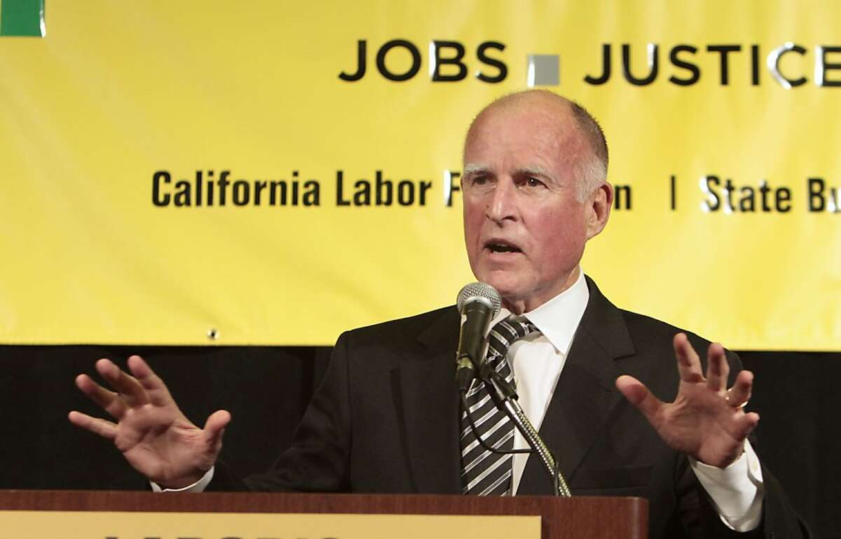 Gov. Jerry Brown addresses Labor's 2011 Joint Legislative Conference in Sacramento, Calif., Monday March 21, 2011. While talking about the on going negotiations on his state budget plan, Brown criticized Republican lawmakers as being obstructionists.
