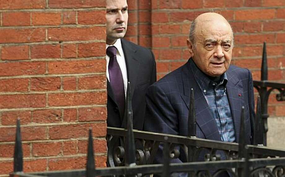 Mohamed Al Fayed, the father of Dodi Fayed, leaves the High Court in London, at the start of a lunch break, as the summation into the inquest of the death of Princess Diana and her boyfriend Dodi Fayed begins, Monday, March 31, 2008. A coroner on Monday discounted entirely the conspiracy theory, pursued for more than a decade by Mohamed Al Fayed, that Princess Diana was murdered in a secret service plot at the behest of Britain's royal family. (AP Photo/Matt Dunham) Photo: Matt Dunham, AP