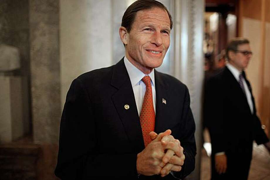 WASHINGTON, DC - MARCH 09:  U.S. Sen. Richard Blumenthal (D-CT) walks off the floor after the Senate failed to pass legislation approved last month by the House that would cut $57 billion from the federal budget at the U.S. Capitol March 9, 2011 in Washington, DC. Lawmakers must agree to another spending bill by March 18 when the current temporary budgetary measure expires. Photo: Chip Somodevilla, Getty Images