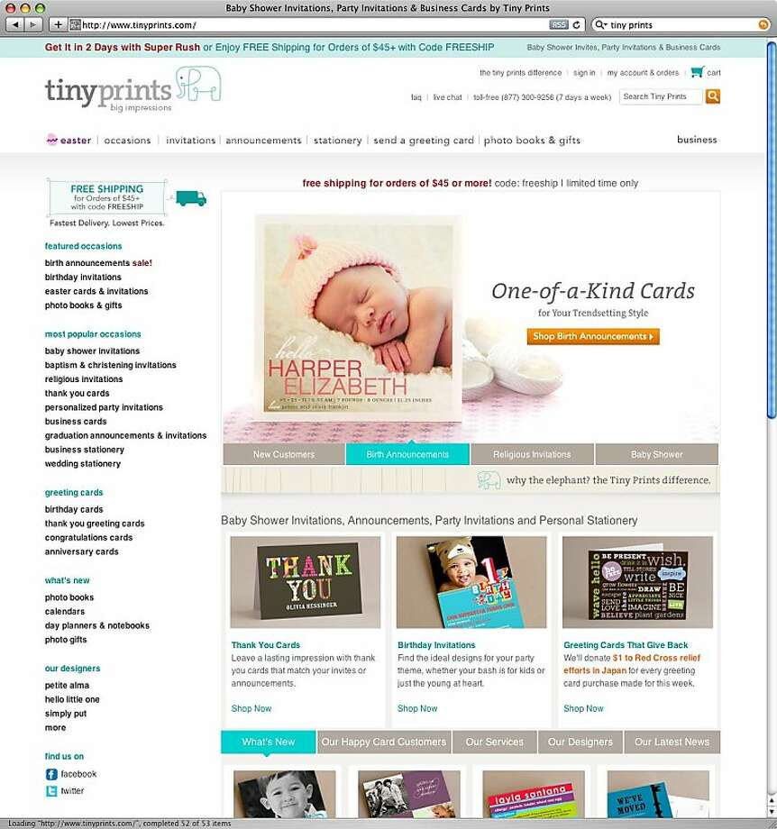 A screenshot of Tinyprints.com. Shutterfly a Web-based photo-sharing company agreed to buy TinyPrints.com which creates custom cards and stationary online for about $369 million. Photo: Tinyprints.com