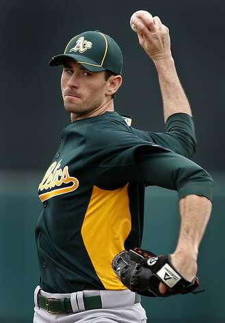 Starter Brandon McCarthy delivers a pitch in the first inning of the Oakland A's 6-4 win over the San Francisco Giants in a spring training game at Scottsdale Stadium in Scottsdale, Ariz., on Sunday. Photo: Paul Chinn, The Chronicle