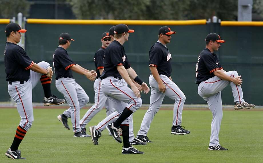 Minor league players in the Giants' farm system work out at the Giants Baseball Complex in Scottsdale, Ariz. on Sunday, March 20, 2011. Photo: Paul Chinn, The Chronicle