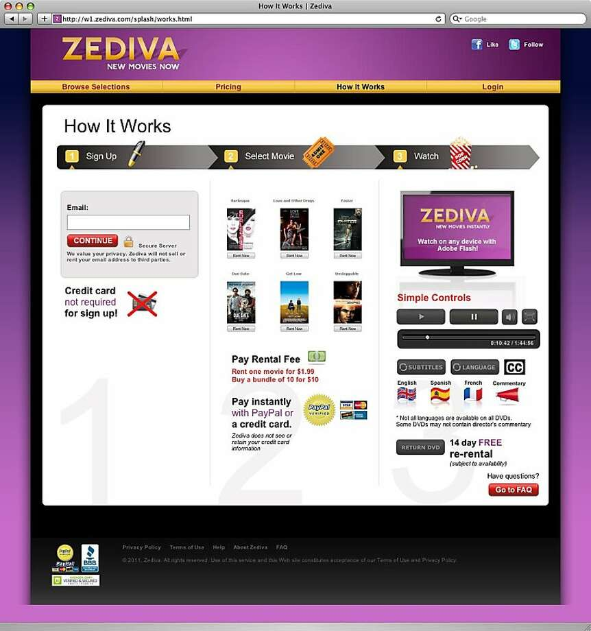 a screenshot of zediva.com, which streams dvds online. Photo: Zediva.com