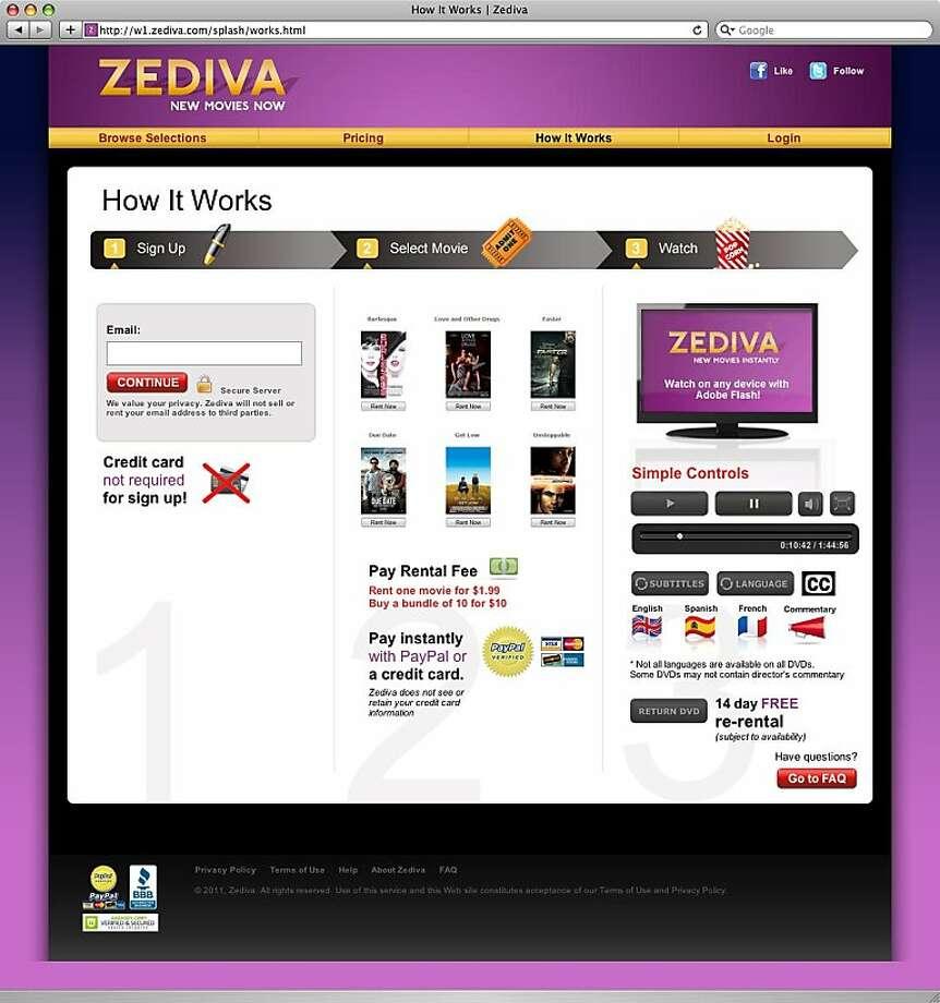 a screenshot of zediva.com, which streams dvds online. Photo: Zediva.com