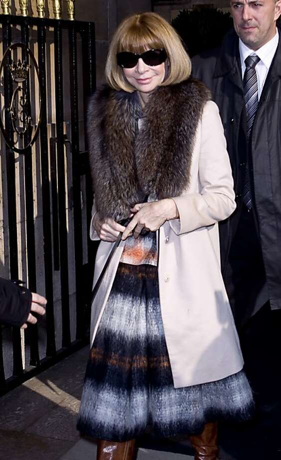 Anna Wintour leaves after watching the Balenciaga Fall-Winter, ready-to-wear 2012 fashion collection, at the Hotel de Crillon, during Paris Fashion week, Thursday, March 3, 2011. Photo: Joel Ryan, AP