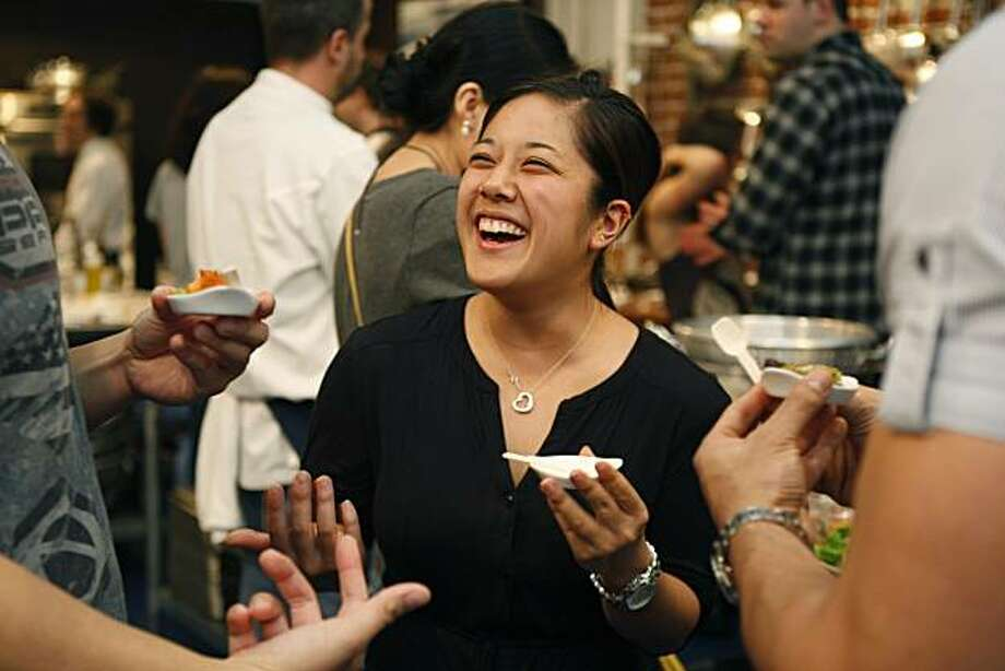 Lisa Iizuka laughs with other classmates during a Paleo Diet cooking class organized by LaLanne Fitness and Hands on Gourmet in San Francisco Calif, on Friday, March 11, 2011. Photo: Alex Washburn, The Chronicle