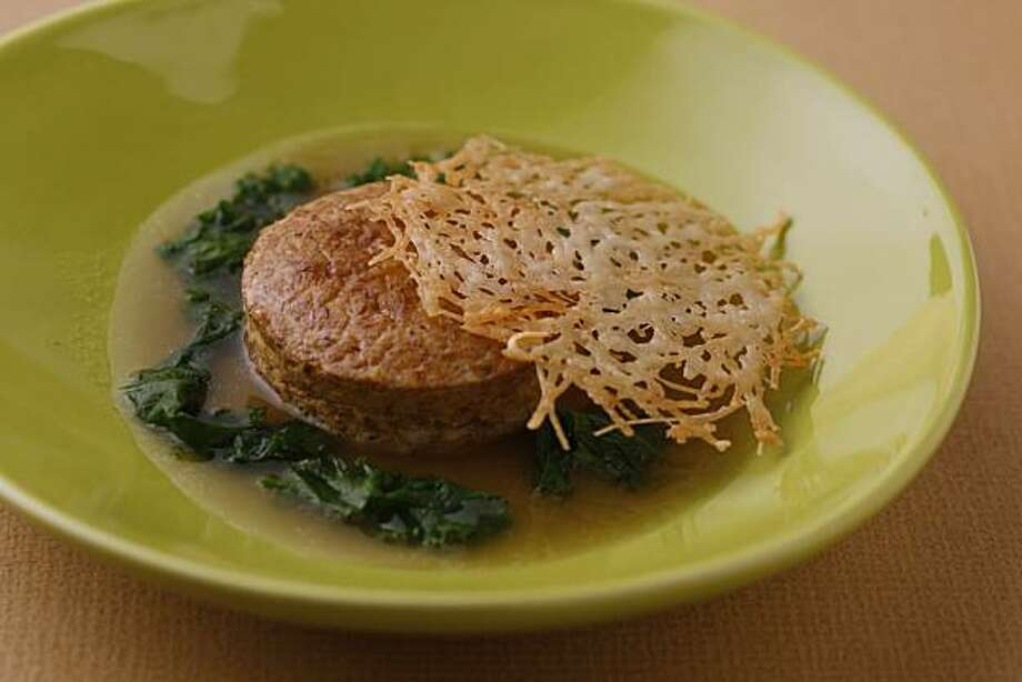 Hedgehog mushroom sformato with parmigiono brodo (from Tom McNaughton, Flour+Water) as seen in San Francisco, California, on February 2, 2011. Food styled Lisa Appleton. Photo: Craig Lee, Special To The Chronicle